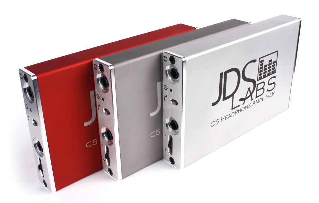 C5 Headphone Amplifiers in Red, Slate and Silver