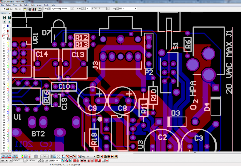O2 v1.1b PCB: Equal to NwAvGuy's v1.1a, with J1 holes enlarged from 2.31mm to 3.05mm